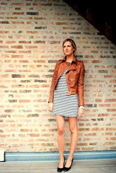 camel jacket, striped dress, flats