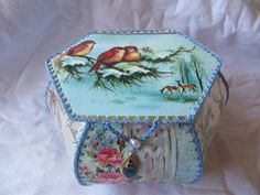 Found a new home at The Vintage Roundup Card Boxes, Paper Boxes, Vintage Box, Vintage Cards, Card Crafts, Paper Crafts, Card Basket, Greeting Card Box, Ribbon Yarn