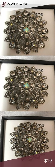 Liz Claiborne Crystal  Brooch Liz Claiborne Crystal Brooch. New in box. Measures 2 x 2 in. Liz Claiborne Jewelry Brooches