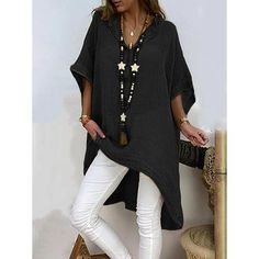 plus size shirts Women Summer Loose half Sleeve Solid women's Tops plain long beach Blouse casual large size fashion vrouw Maxi Dress With Sleeves, Half Sleeves, Types Of Sleeves, Half Sleeve Shirts, Plus Size Shirts, Long Blouse, Batwing Sleeve, Mode Style, Casual Tops