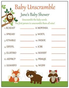 Baby shower games unscrambl | My Best Baby Tips