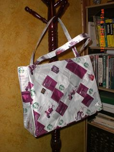 Recycled Starbucks Coffee Bag Tote lined and pieced quilt style outside. $24.00, via Etsy.