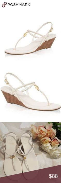 Tory Burch Emmy Demi Wedge. Size 9 Tory Burch white Emmy Demi thong Wedge in white. Perfect for the summer.  New without the tag.  There were hanging out in my closet for a while, hardly noticeable signs of that See pic #6. Please review all pictures and feel free to ask any question. Shipping from a smoke free pet free home. Tory Burch Shoes Wedges