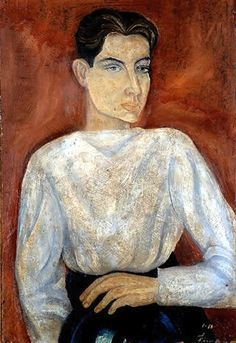 Soriano, Juan (1920-2006) - 1934 Self-Portrait (Private Collection), for more please visit http://www.painting-in-oil.com/artworks-Kahlo-Frida-page-1-delta-ALL.html