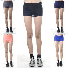 ebclo - Comfy Stretch Yoga Shorts Solid Colors Banded Waist Short Pants NEW #ebclo #CasualShorts $10.00 Free Domestic Shipping