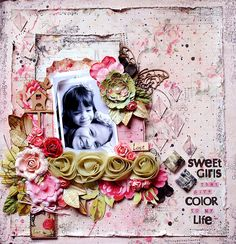 Sweet girls that give color to my life - Scrapbook.com  Love the color and details on this one.