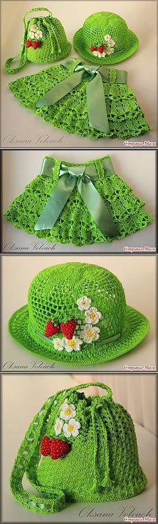 Нарядный летний комплект для малышки - юбочка, шляпка и сумочка. С описанием и схемам.
