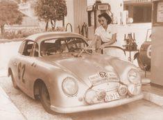 Gilberte Thirion (inside) and Ingeborg Polensky in 1952 Tour de France Rally Race. Porsche 356 Gmünd SL, chassis # 356/061-30004A
