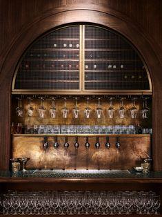 long wall back bar tap italian wine Bar Interior Design, Restaurant Interior Design, Commercial Interior Design, Commercial Interiors, Bar Design Awards, Sala Vip, Architecture Restaurant, Lobby Bar, Home Bar Designs