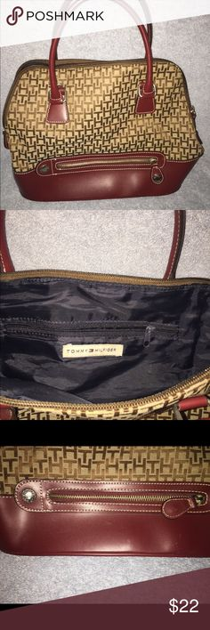Vintage Tommy Hilfiger purse This older Tommy purse is so cute. It's smaller but is spacious inside. There are some scratches on the leather bottom (normal wear, nothing major). Tommy Hilfiger Bags Satchels