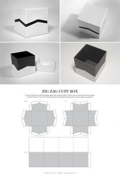 Zig Zag Cuff Box – structural packaging design dielines PD by lynne