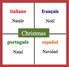 Christmas- Daily Vocabulary Word in French, Spanish, Italian and Portuguese.   http://wlteacher.wordpress.com/