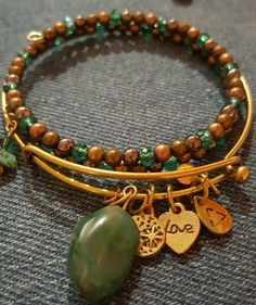 Crystal beaded wire wire with gold expandable bangle copper jade crystal  | eBay