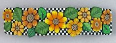 Korringa (nice on background) Sunflower Checkerboard Barrette