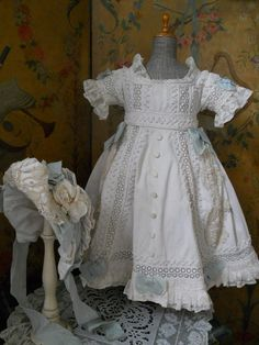 American Girl Inspiration Piece~~~ Fantastic Large French Antique Bebe Pique Dress with Matching Bonnet ~~~
