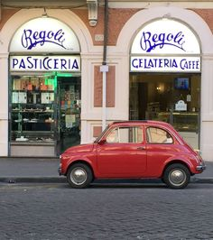Some of my favorite things: Regoli in Rome, one of the best pastry shops, and a vintage Fiat 500 Fiat 500 Car, Fiat 600, My Dream Car, Dream Cars, Fiat Cinquecento, Classy Cars, Steyr, Rome Travel, Cute Cars