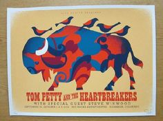 Original silkscreen concert poster for Tom Petty and the Heartbreakers at Red Rocks in Morrison, CO in 2014. 18 x 24 inches on card stock. Signed and numbered limited edition of only 200 by Dan Stiles.