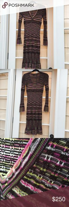 M by Missoni Fitted Knit Long Sleeve Dress This is a beautiful, classic M by Missoni dress. It is a midi dress made from 48% wool and 44% viscosa and is great with boots or heels. Lightly worn, but in great condition. M by Missoni Dresses Long Sleeve