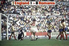 England 1 Romania 0 in 1970 in Guadalajara. Geoff Hurst scores on 65 minutes to give England a 1-0 lead in Group 3 at the World Cup Final.