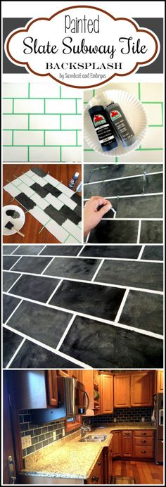 Learn how to PAINT your backsplash to look like genuine slate subway tile... for JUST A FEW DOLLARS! {Sawdust and Embryos}