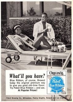 1965 Alcohol Ad, Pabst Blue Ribbon Beer, Couple at Pool in Bathing Suits, Jet Magazine | Flickr - Photo Sharing!