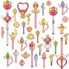 Pixel Sailor Senshi wands God, I was obsessed with Sailor moon =P Sailor Moon Tattoos, Sailor Moons, Sailor Neptune, Sailor Jupiter, Sailor Moon Party, Sailor Moon Wands, Sailor Moon Weapons, Sailor Scouts, Sailor Moon Transformation