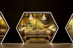 W New York – Times Square seating niche #hexagon #blackandgold #angles