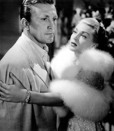 "Kirk Douglas and Lana Turner in The Bad and the Beautiful (Vincente Minnelli, one of the best of the ""Hollywood exposé"" films. Douglas is an ambitious and ruthless director (the Bad) and Turner. Old Hollywood Glamour, Golden Age Of Hollywood, Vintage Hollywood, Classic Hollywood, Hollywood Stars, Hollywood Icons, Hollywood Actor, Kirk Douglas, Lana Turner"