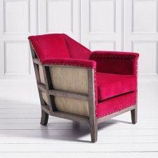 Hoxton Armchair in Fuchsia Velvet