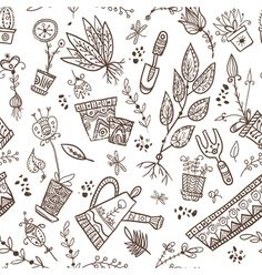 Gardening and planting seamless pattern vector doodle background - by samiola-la-la on VectorStock®