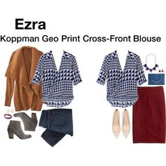 """""""Koppman Geo Print Cross-Front Blouse"""" by katrinalake on Polyvore"""