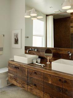 Modern Bathroom With Rustic Wooden Vanity Featured Vessel Sinks