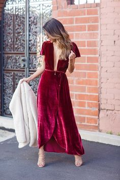 01d2e2df0eeb how to wear velvet dress, velvet reformation dress, holiday party outfit  ideas
