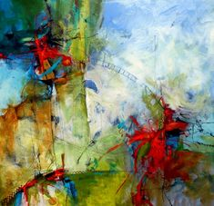 """Tomato Fight, 30"""" x 30"""", acrylic and mixed media on canvas, from Wan Marsh Studio - abstract"""