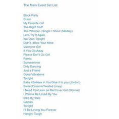Here's the setlist everyone! #TheMainEvent #nkotb @nkotb