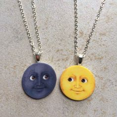 A creepy-cute handmade moon necklace set — because no one lights up your life like your closest friend. 34 Impossibly Cute Friendship Necklaces Your BFF Will Totally Love Bff Necklaces, Best Friend Necklaces, Friendship Necklaces, Matching Necklaces, Emoji Jewelry, Cute Jewelry, Moon Necklace, Necklace Set, Humor