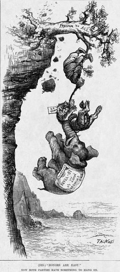 Harper's Weekly cartoon, May 20, 1882, (Dis)honors are Easy: This is a cartoon by Thomas Nast showing the Chinese hanging on to liberty with congress uprooting the notion of freedom to all. Now both parties are trying to get rid of the Chinese.