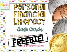 Personal Financial Literacy All the new MATH TEKS Each topic has 8 cards that are color coordinated for easy recognition. Each card has a QR code so child can check for quick self assessment.  #STAAR
