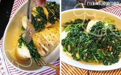 Low Carb Rezept für eine gefüllte und überbackene Hähnchenbrust (mit Spinat). Wenig Kohlenhydrate und einfach zum Nachkochen. Super für Diät/zum Abnehmen.