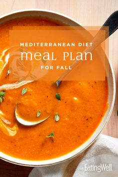 Mediterranean Diet Meal Plan for Fall - Healthy Meal Plans - This Mediterranean diet meal plan for fall features the best flavors of the season, packaged - Diabetic Diet Meal Plan, Diet Meal Plans To Lose Weight, Ketogenic Diet Meal Plan, How To Lose Weight Fast, Healthy Diet Plans, Keto Meal, Diet Menu, Healthy Weight, Eating Healthy