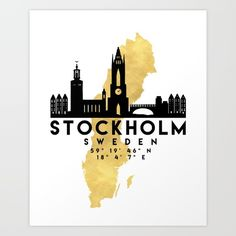 STOCKHOLM SWEDEN SILHOUETTE SKYLINE MAP ART - The beautiful silhouette skyline of Stockholm and the great map of Sweden in gold, with the exact coordinates of Stockholm make up this amazing art piece. A great gift for anybody that has love for this city. graphic-design digital typography illustration vector stockholm sweden downtown silhouette skyline map coordinates souvenir gold deificus-art