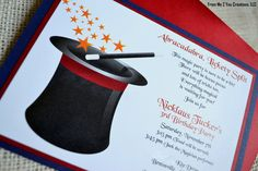 Magic Birthday Party Invitation: Magic Top Hat Birthday Party Invitation with Direction Card. $142.00, via Etsy.