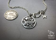 Handmade and repurposed silver sixpence coin lizard pendant necklace