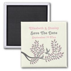 Love birds grey, pink wedding Save the Date magnet, part of a wedding set.
