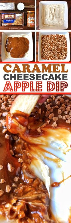 Easy No-Bake Caramel Cheesecake Apple Dip-- the BEST dessert recipe for the holidays! Perfect for Christmas and Thanksgiving, and it feeds a crowd. Plus you can make it ahead of time! Instrupix.com Desserts For A Crowd, Party Desserts, Appetizers For Party, Potluck Desserts, Dessert Dips, Potluck Ideas, Appetizer Recipes, Party Sweets, Apple Dip