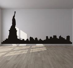 Bedroom Decorating Ideas New York Theme nyc new york city skyline silhouette mural decal sticker living