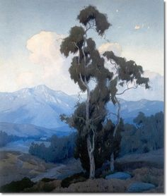 Marion Kavanagh Wachtel - Landscape with Eucalyptus Tree Painting Paintings I Love, Seascape Paintings, Painting Trees, Landscape Art, Landscape Paintings, Eucalyptus Tree, California Art, Nocturne, Plein Air