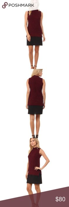 NWT French Connection Knit Dress Size 4 maroon and black layered dress by French Connection. Sleeveless with high neckline. No flaws, brand new with tags. Retails for $148. I ship daily - excluding Sundays and holidays - and I store items in a smoke free, pet free environment. Open to offers; bundles discounted! No trades. French Connection Dresses
