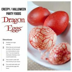 Dragon Eggs, Hardboil eggs as normal, Cool slightly and crack shell thoroughly b… - Halloween food Creepy Halloween Party, Halloween Appetizers, Halloween Dinner, Halloween Desserts, Halloween Treats, Halloween Buffet, Halloween Potluck Ideas, Halloween 2018, Halloween Night