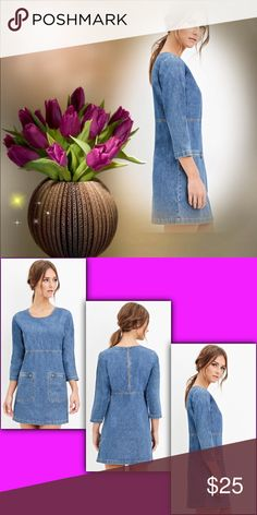 Forever 21 Denim Shift Dress 👗Casual Cuteness👗 Denim in color; unlined, woven; back zip closure; front two zip pockets. 100% cotton. Eye-It...Buy-It! Forever 21 Dresses